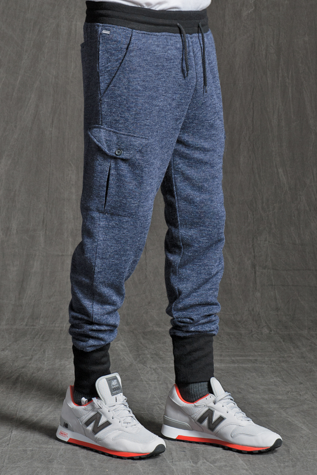 CARTER SLIM KNIT CARGO JOGGER PANTS IN NAVY HEATHER