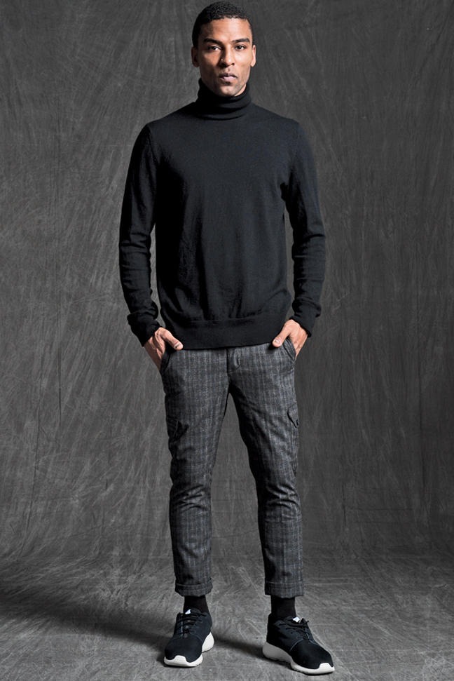 BENSON SKINNY FLOOD PANTS IN CHARCOAL TEXTURE PLAID