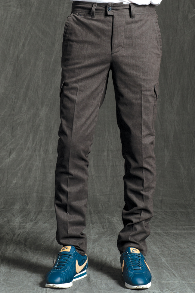 GRANT SKINNY STRETCH CARGO PANTS IN HEATHER BROWN STRETCH TWILL