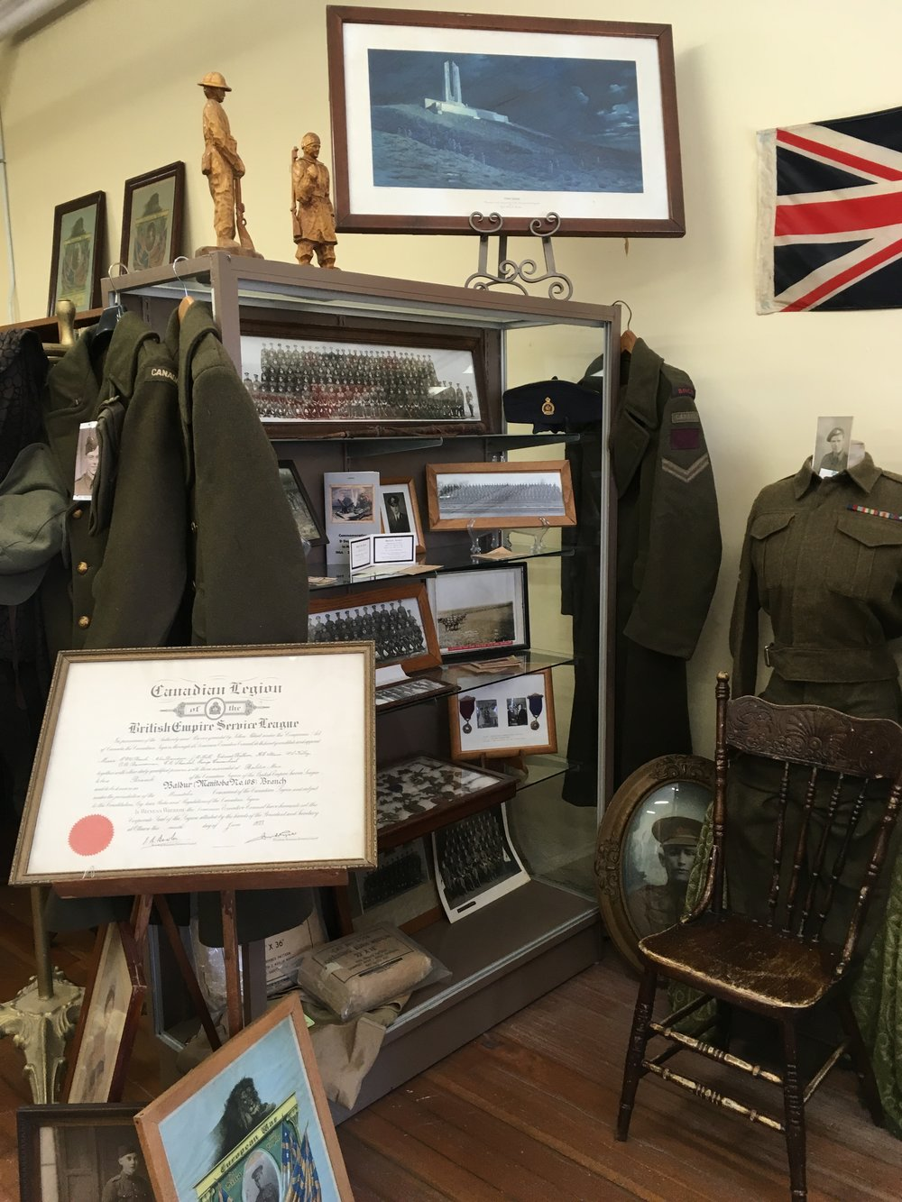 A wonderful display of artifacts and photo's honoring our Veteran's