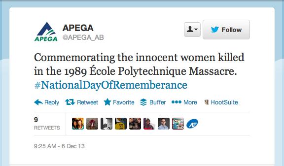APEGA's quiet tweet about the École Polytechnique massacre garnered 9 retweets and no backlash.