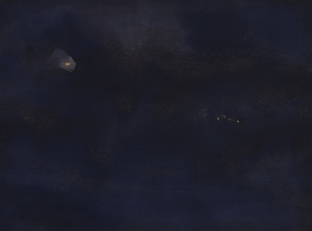 "Nightscape III   Watercolor on Paper  11"" x 14""  2013"
