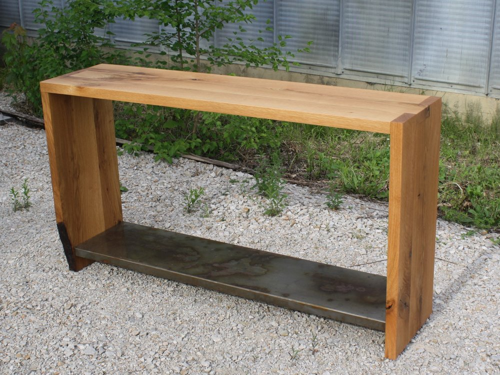White Oak Distressed Steel Entry Console.jpg