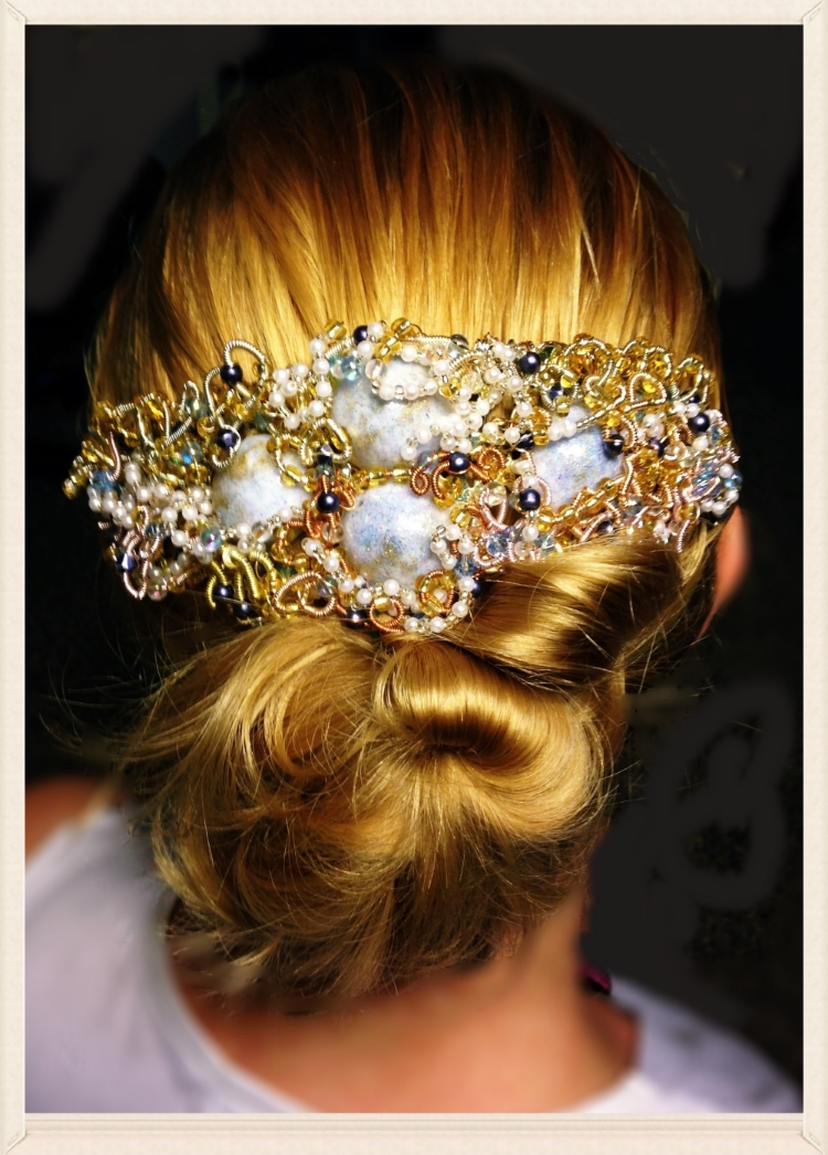 Bridal hair piece handmade using my grandma's pearls