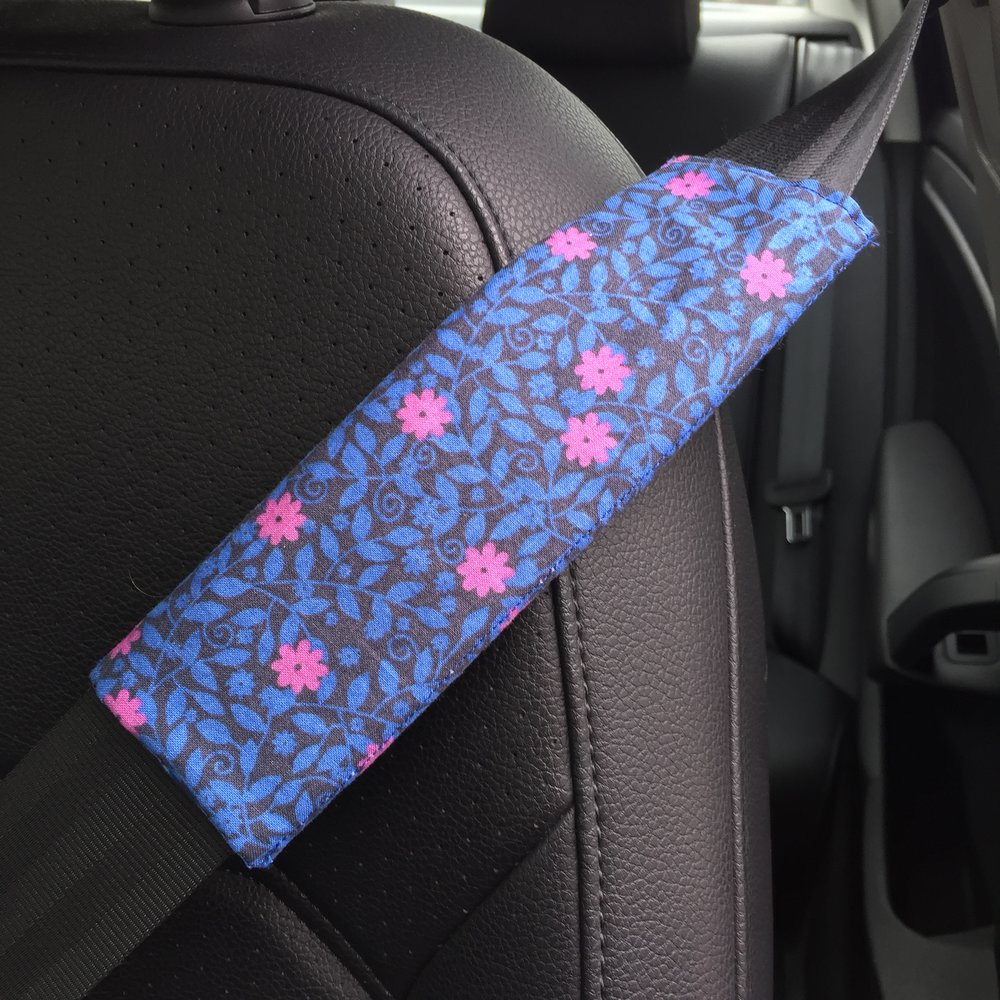 - The tutorial I used to make my seatbelt cover called for using fusible batting, but I used regular batting.  The tutorial can be found using this link.(Click on the word