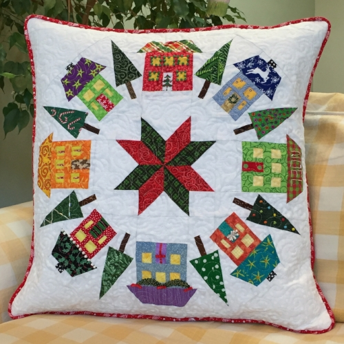 "20"" Houses block quilted pillow"