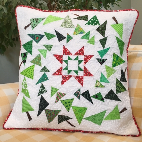 "20"" Trees block quilted pillow"