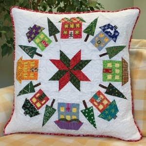 Houses block pillow