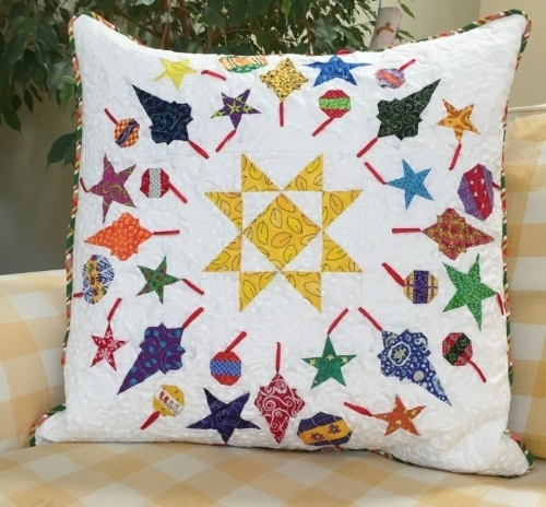 "20"" Ornaments block quilted pillow"