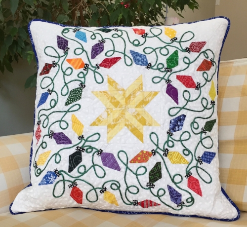 "20"" Lights block quilted pillow"