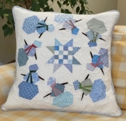 Snowmen block pillow