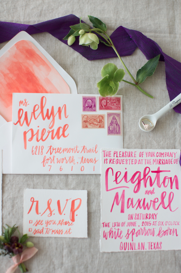 I'm always wanting to try new things when it comes to calligraphy and lettering. I have been obsessed with watercolors and brush lettering. So I was so excited to put together this suite for my girl Wendy at Birds of a Feather Events (birdsofafeather.com). I love collaborating with Wendy, she has such an eye for wedding design and she encourages me to be as creative as I want. I look forward to future shoots with her and pushing the envelope this wedding season!