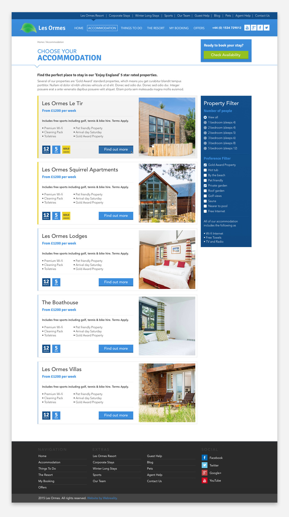 The Accommodation page. This displays all the properties and enables the user to search by property type and preference.