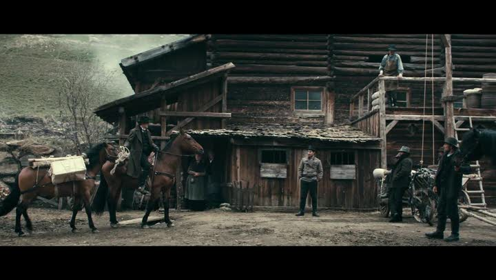 "Scene from ""The Dark Valley"" Sam Riley's character riding into town complete with daguerreotype gear packed up on a second horse."