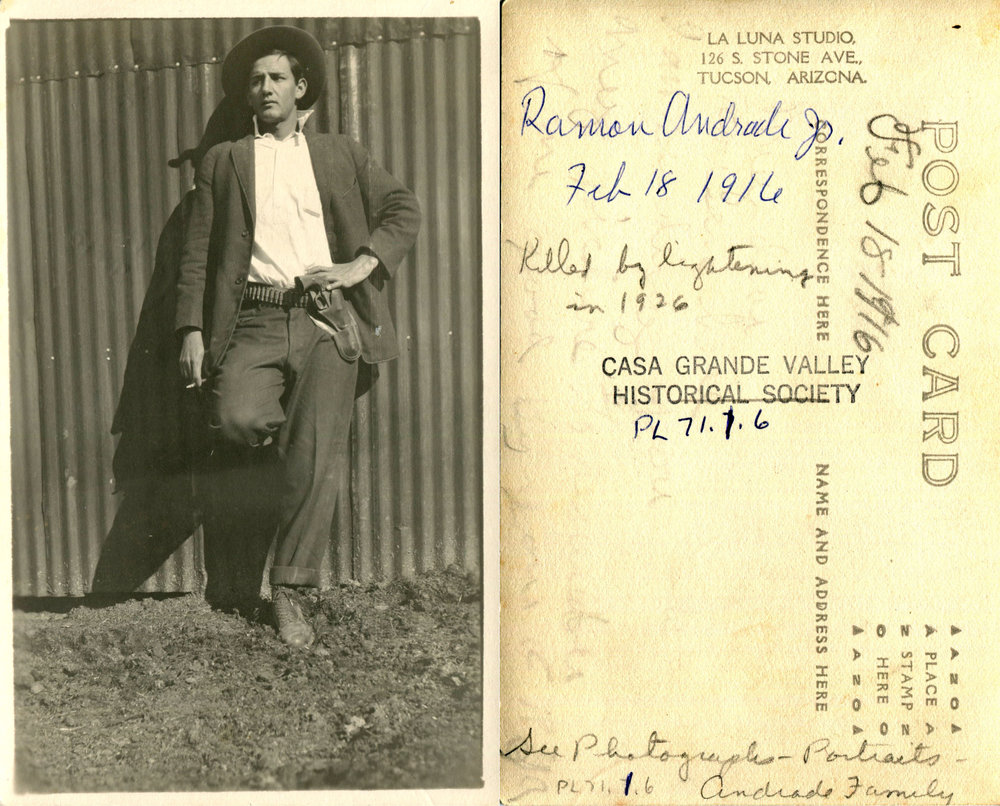 "As seen written on the back of this photograph, ""Killed by Lightening in 1926"" is testament to a serious event and attempt to preserve history. Relics of evidence such as this help tremendously in putting together the past in an effort to preserve our future."