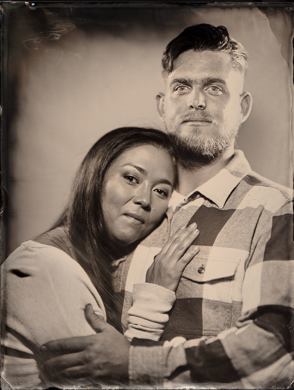Tim with his wife Jacky Johannsen celebrating their ten year anniversary by taking a tintype portrait together.