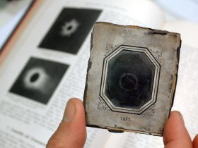 The first photo of a solar eclipse, the original daguerreotype.