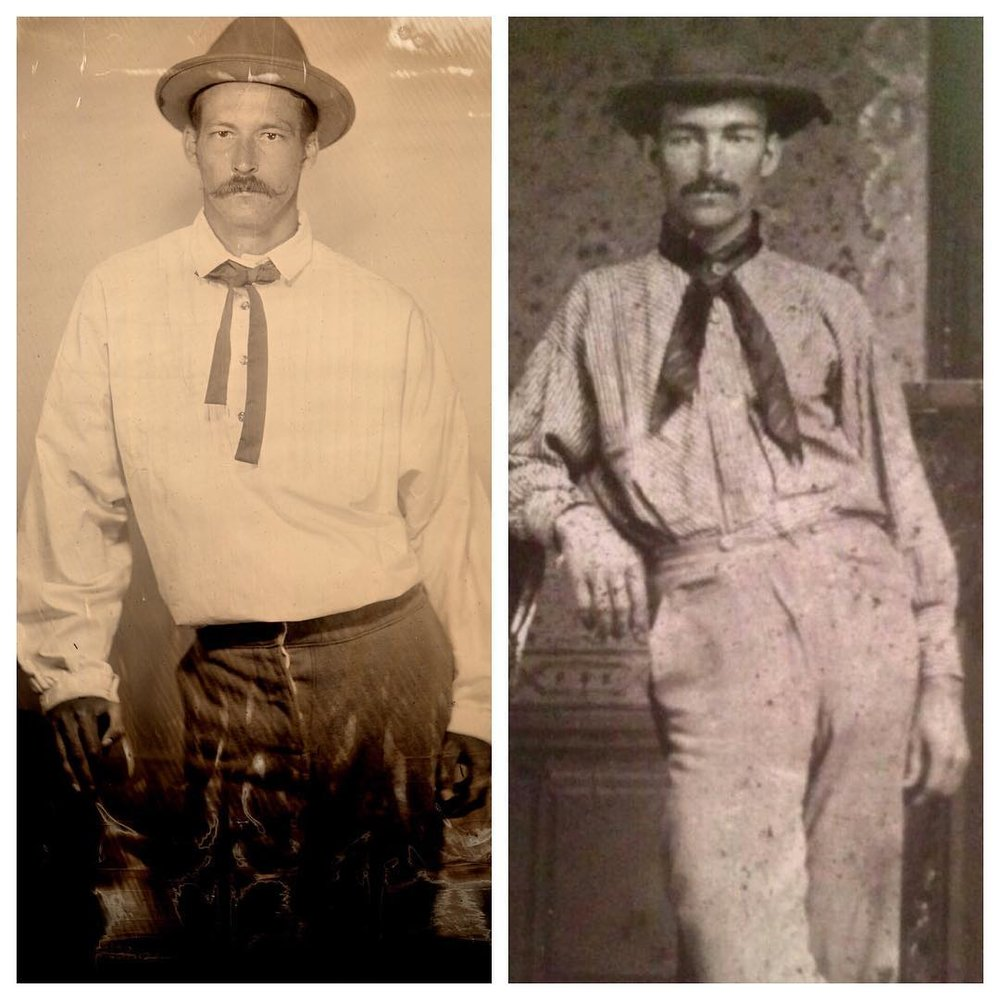 Jeffrey Needles pictured on the left in a modern 2017 Tintype and his sister-in-law's father's uncle on the right circa 1890.