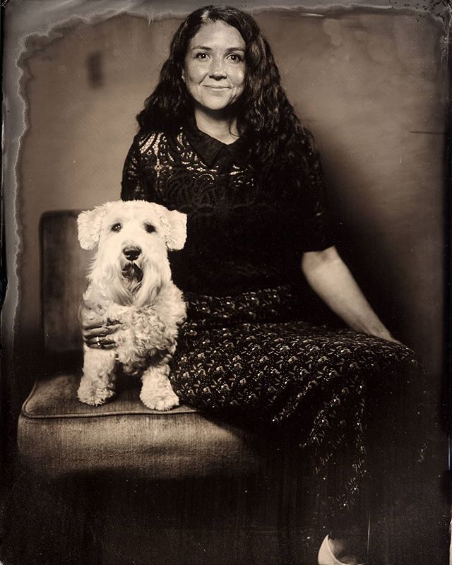 Jennifer with her best friend. Sepia tone