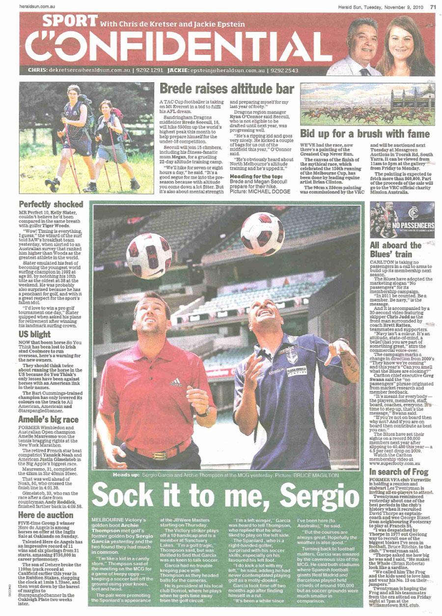 Herald Sun Australian Masters Sergio Garcia and Archie Thompson Stunt.jpg