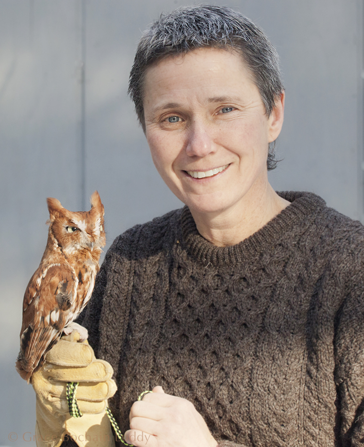 "This is a Screech Owl, injured by flying into a window.    He is being held by my sister, Cathy.    (If you go to the ""About"" tab and look at our family picture… she's the little person blowing her trumpet.  As you can see… she's grown.   And PS - She is a great and I mean great, basketball player.  Cathy Bochain.  I taught her everything I know about basketball and in spite of that, she's in the Women's Basketball Hall of Fame.)"