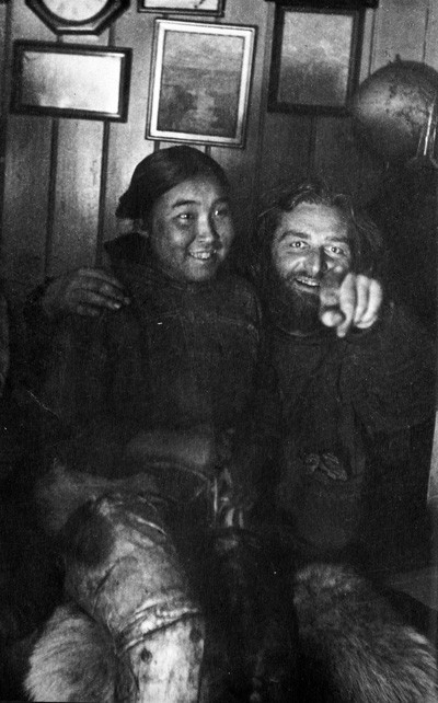Arctic explorer Peter Freuchen with his first wife Navarana Mequpaluk ca. 1912. Freuchen was once trapped in ice for 30 hours and escaped by making a chisel out of his own frozen feces.