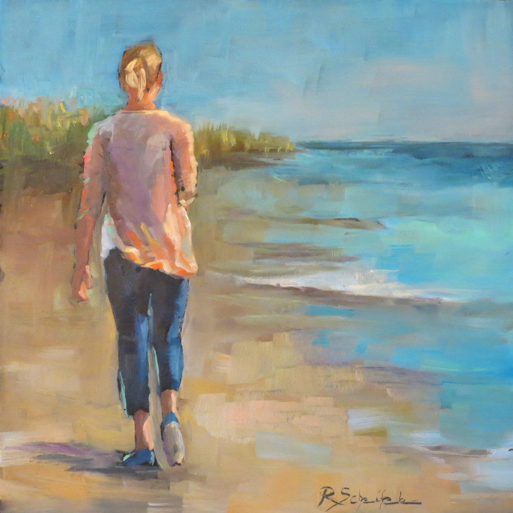 """Beach Girl"" - Oil on hardboard, 8''x10''"