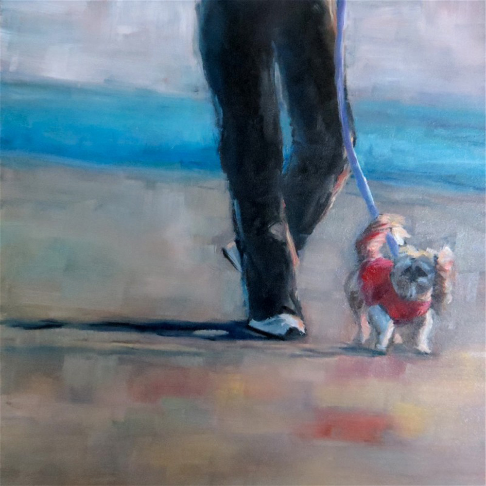 """Cookie's Evening Walk"" - Oil on Hardboard, 8''x8''"