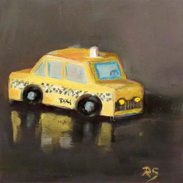 """""""Follow that (Toy) Car!"""" - 5"""" by 5"""", oil on panel"""