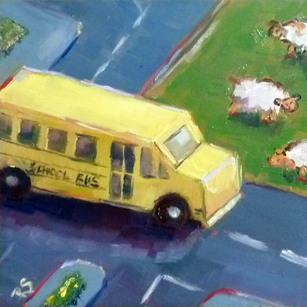"""""""Toyville High"""" - 5"""" by 5"""", oil on panel"""