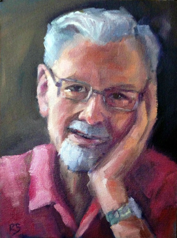 """Mr. Bennet"" - oil on board, 10"" x 7"" / 25cm x 18cm"