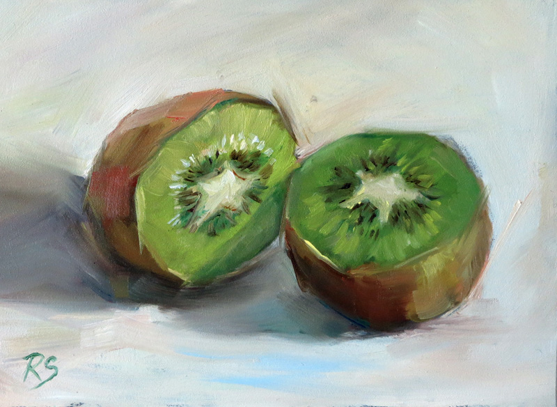 """Kiwi Duet"" - 5"" by 7"", oil on panel"
