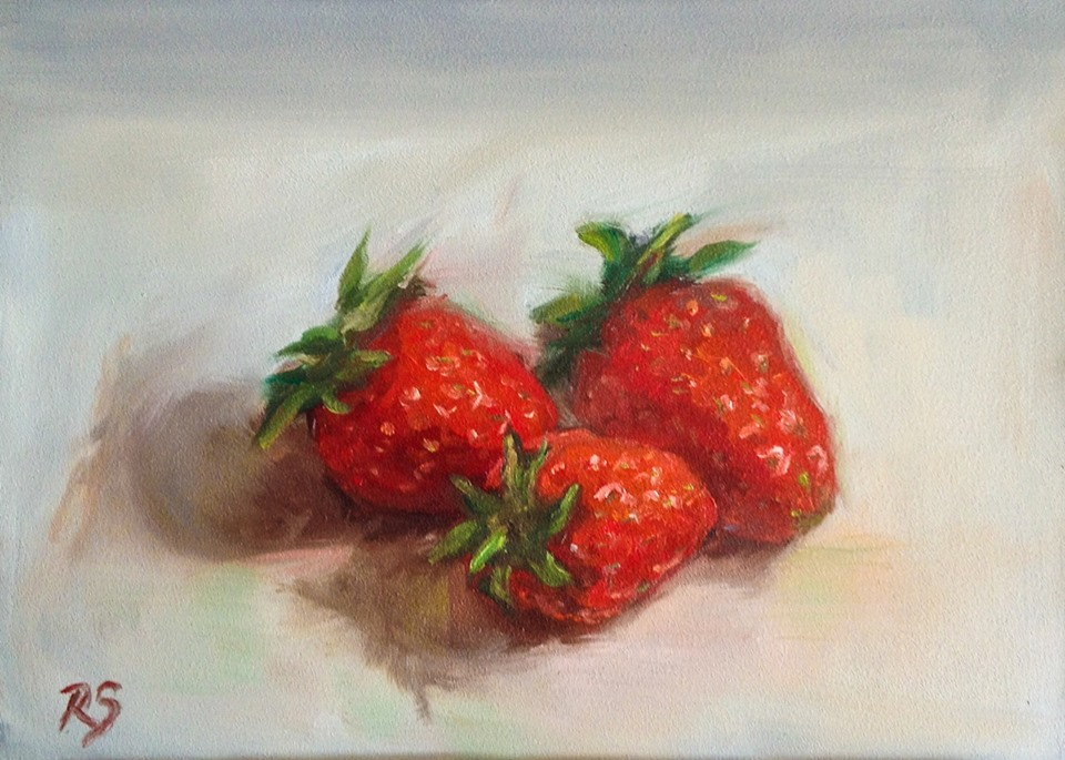 """Strawberry Trio"" - 5"" by 7"", oil on panel"