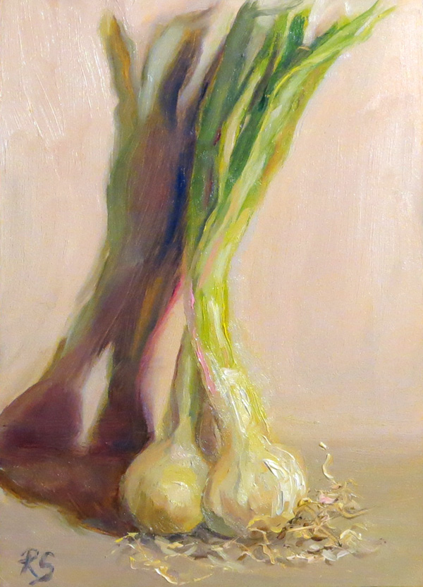 "Spring Onions -  7"" by 5"", oil on panel"