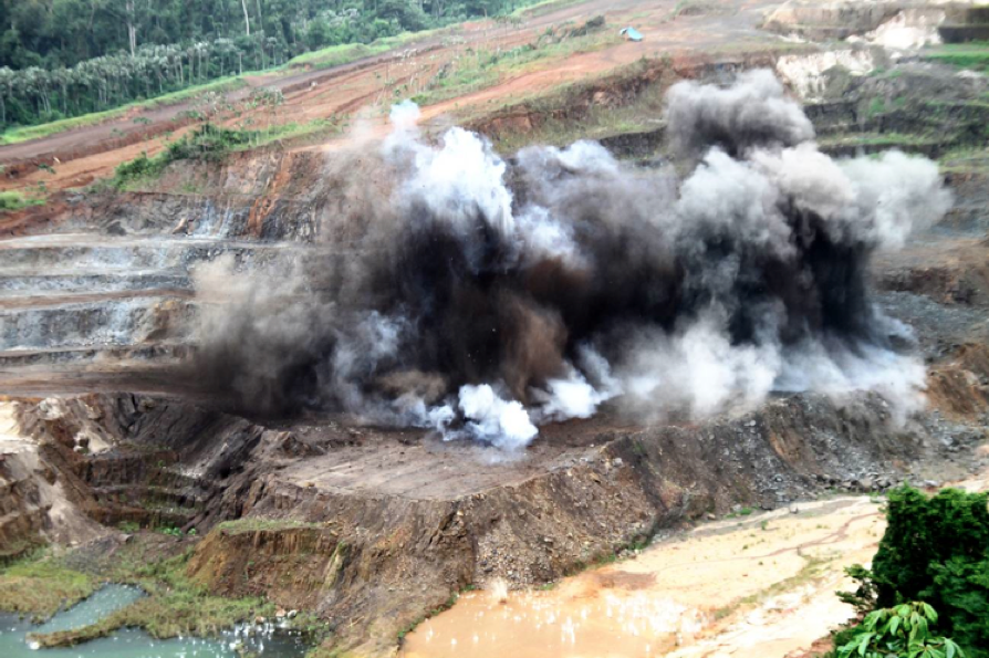 BLASTING at Beadell Resources' Tucano gold mine, abutting Anglo American's Amapa iron ore operations, being sold to Zamin Ferrous. Anglo Pacific hold a 1 per cent royalty over iron ore revenue from both mines. Photograph: Beadell Resources