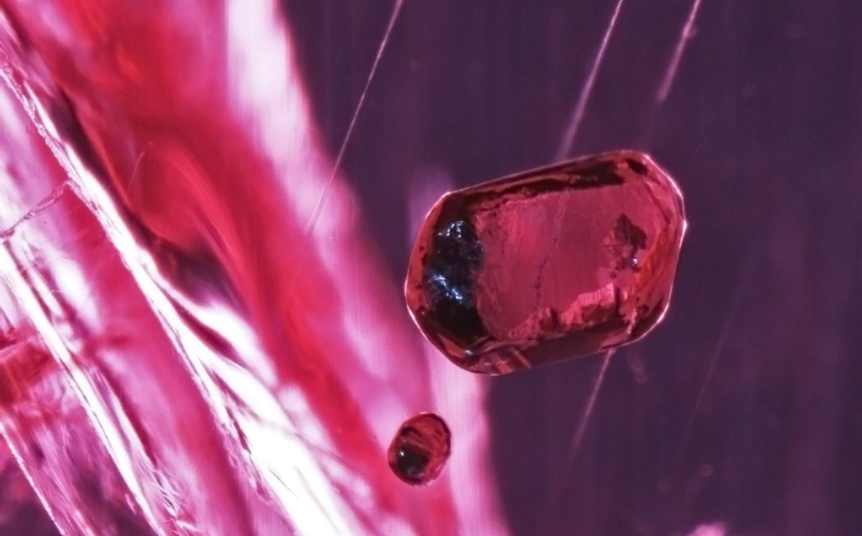 "CRYSTALS inside a ruby from Montepuez, photographed by grading arbiter the GIA, which has visited Montepuez in a series of field trips since its discovery in 2009. The GIA describes the stones as having a ""Burma like"" red to purple colour, lacking the orange of most African rubies. Top tier Burmese rubies frequently fetch more than $50,000 per carat."