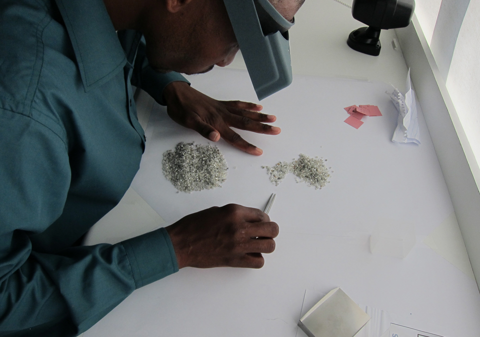 Sorting rough from Karowe, Botswana. Photo: Lucara Diamond Corp.