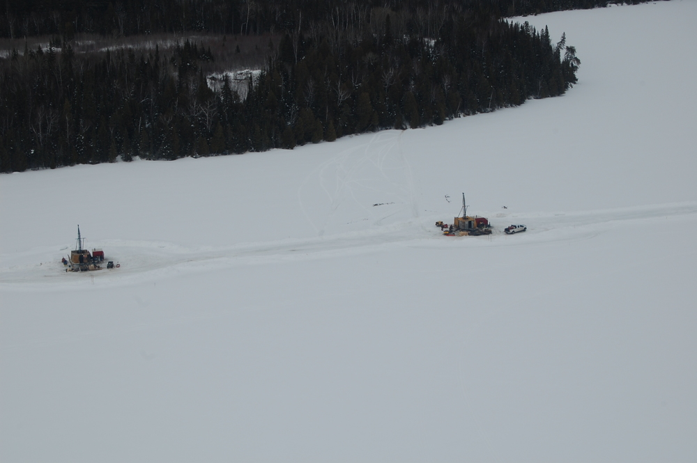 ICE DRILLING at Borden Lake in 2013. Credit: Probe Mines.