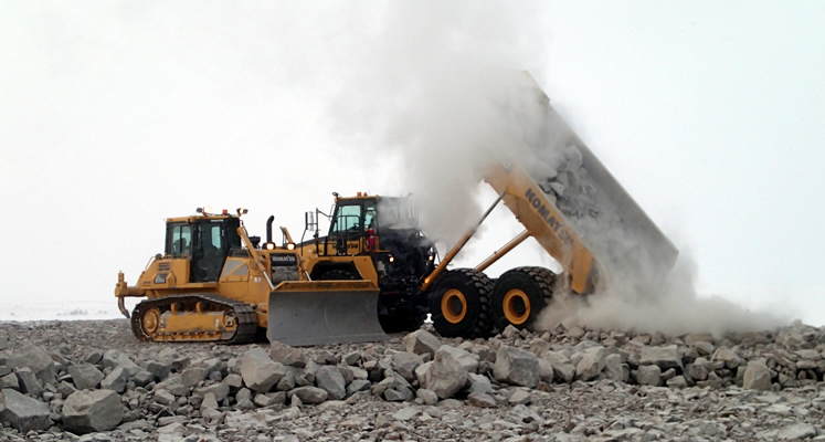 QUARRYING at Gahcho Kue in northern Canada, laying the foundations for De Beers' largest mine in Canada. The mine is co-owned by Toronto-listed Mountain Province, backed by Irish financier Dermot Desmond. Credit: Mountain Province