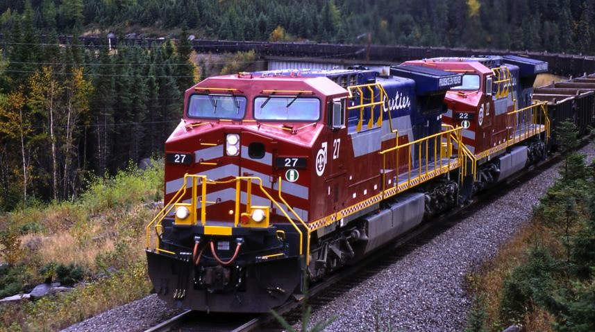 The 418km-long CARTIER RAILWAY, Quebec. Famous in railway terms for its gentle gradient and heavy duty engineering, Cartier is owned by steel group ArcelorMittal. Credit: Cartier Railway