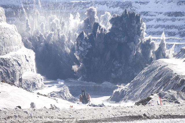 BLASTING at Rio Tinto's iron ore operations in Canada, which are subject to a royalty held by Bruce Bone's Labrador Iron Ore Royalty. Photo: Rio Tinto