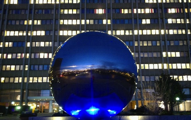 A giant ball-bearing outside SKF's global headquarters in Sweden. Photo: SKF