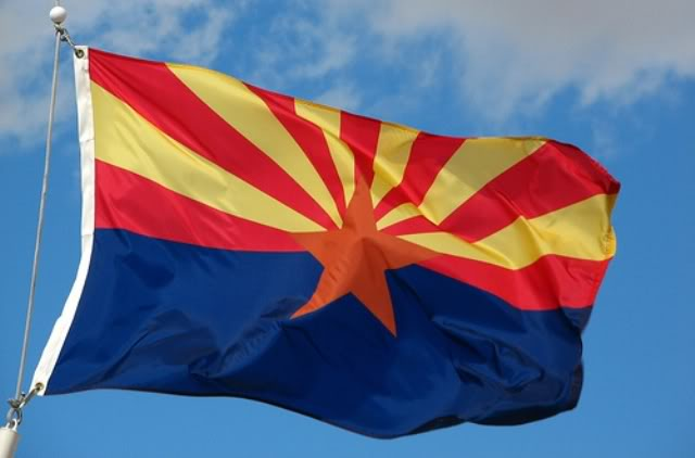 Arizona state flag in the US