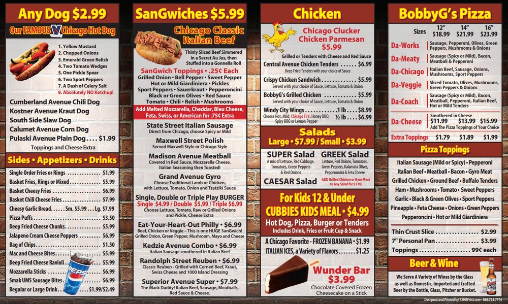 BobbyG's Menu - Click On Image to View or Down Load Menu to Print