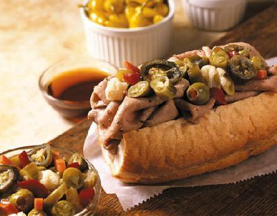 Italian Beef Party Pack ----------------------------------- 12 BIG Sandwiches or 24 1⁄2 Sandwiches - $79.99 ---------------------------------- 3 Lbs of BobbyG's famous Italian Beef. Includes Gonnella Bread, Juice and 1 quart each of Grilled Green Peppers in Garlic, Grilled Onions in Garlic and 8oz container of Hot and Mild Giardinera. We recommend 1⁄2 sandwiches for buffet applications.