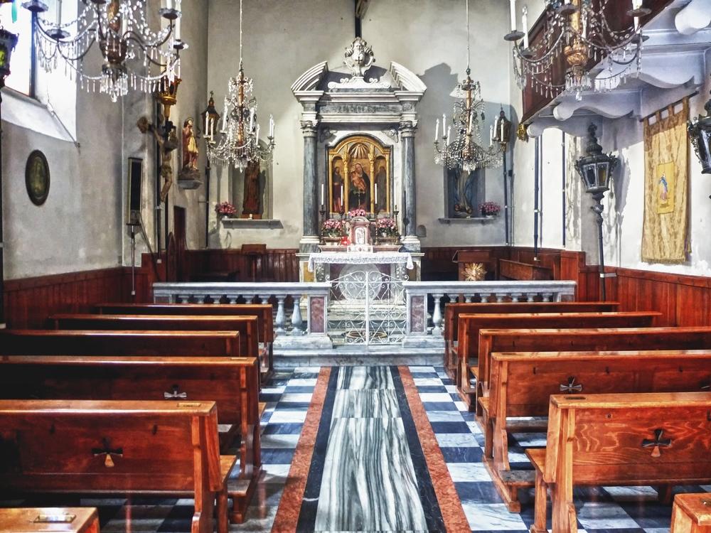 Chapel interior, Riomaggiore, Cinque Terre, Italy. June, 2012.