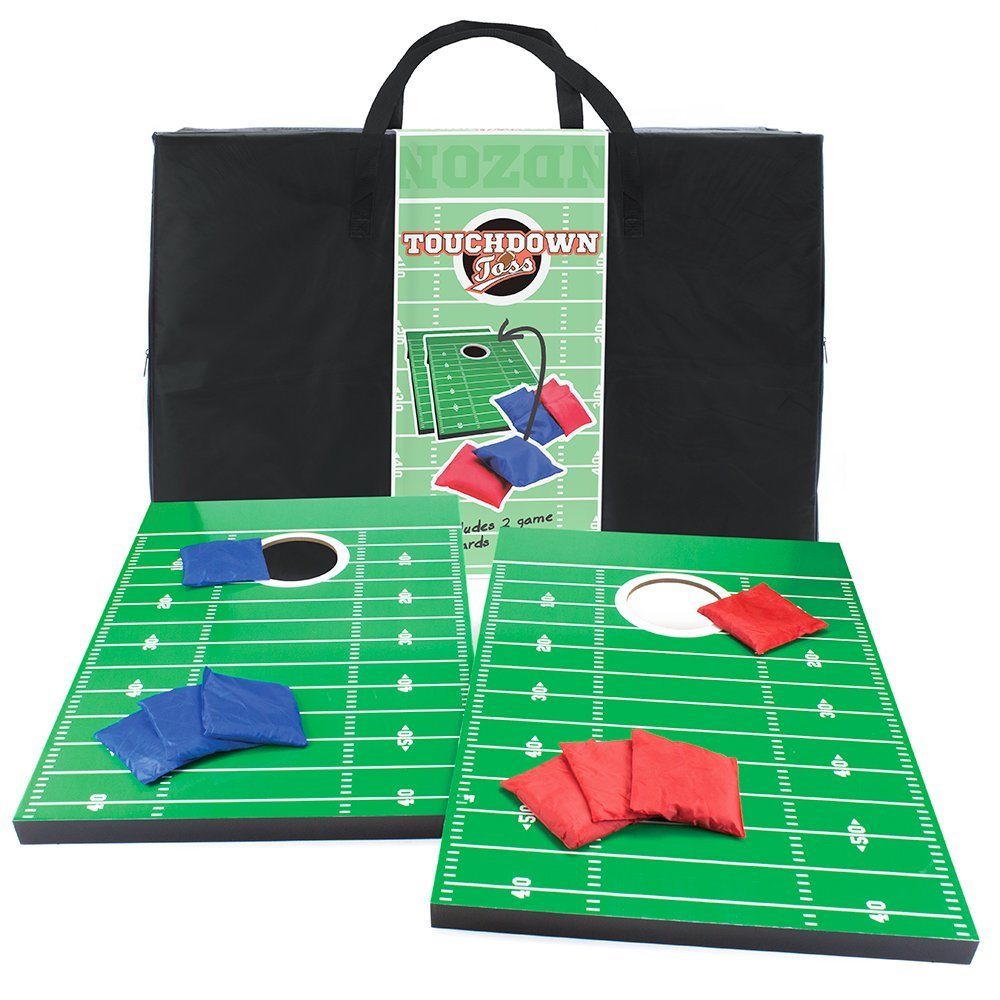 Cornhole boards designed to look like a football field