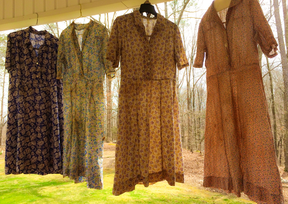 My new keepsakes—four of Maggie Jones Lanier's house dresses.