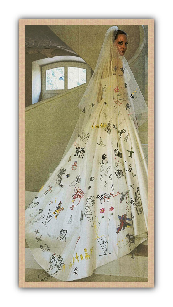 Angelina Jolie's wedding gown was covered with her children's artwork and now it's a keepsake.
