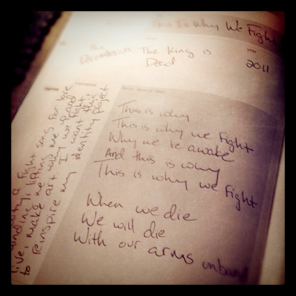 Pictured is the music journal from The Decemberists. Kimi Carter shares a keepsake story about a journal.
